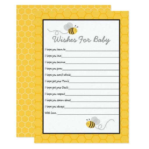 Yellow & Grey Bumble Bee Baby Wishes For Baby Card