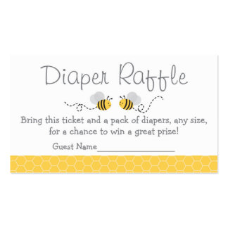 Yellow & Grey Bumble Bee Diaper Raffle Tickets Business Card