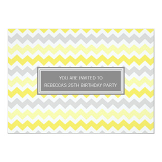 Yellow Grey Chevron 25th Birthday Party Invitation