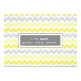 Yellow Grey Chevron 35th Birthday Party Invitation