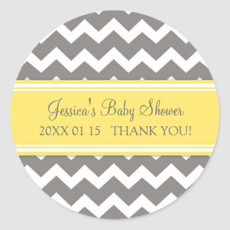 Yellow Grey Chevron Baby Shower Favor Stickers