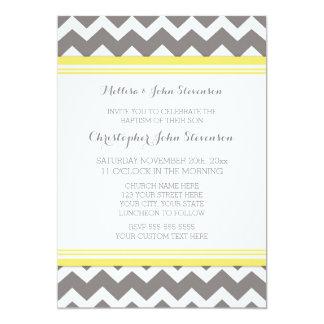 Yellow Grey Chevron Baptism Invitation