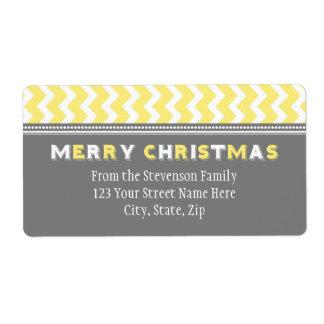 Yellow Grey Chevron Christmas Address Labels