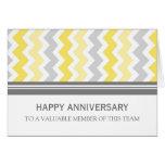 Yellow Grey Chevron Employee Anniversary Card