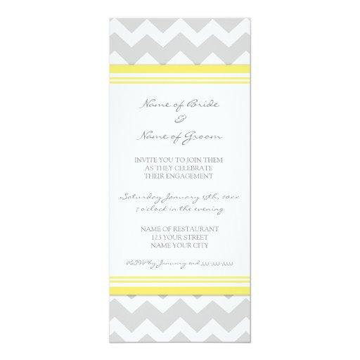 Yellow Grey Chevron Engagement Party Invitations