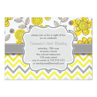 "Yellow & Grey Chevron Floral Modern Birthday Party 5"" X 7"" Invitation Card"