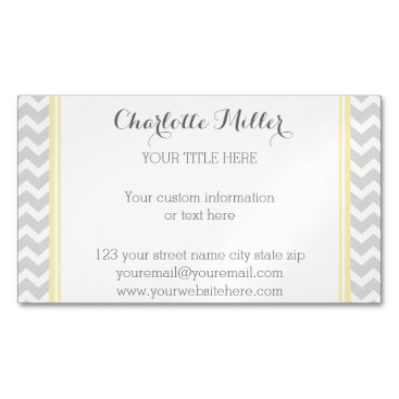 Professional Business Yellow Grey Chevron Magnetic Business Card
