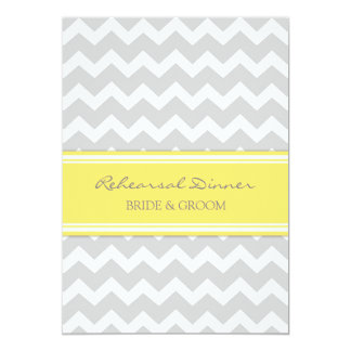 Yellow Grey Chevron Rehearsal Dinner Party 5x7 Paper Invitation Card