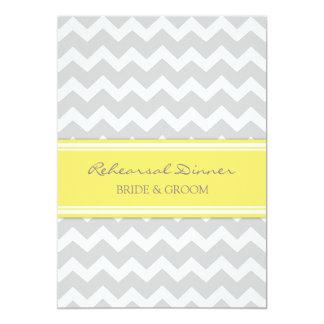 Yellow Grey Chevron Rehearsal Dinner Party 5x7 Paper Invitation Card