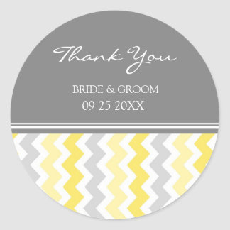 Yellow Grey Chevron Thank You Wedding Favor Tags Classic Round Sticker