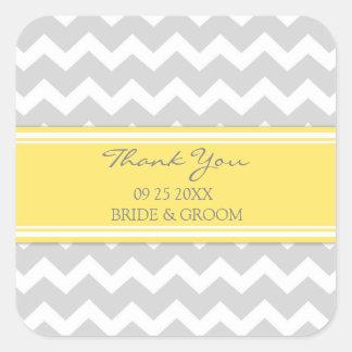 Yellow Grey Chevron Thank You Wedding Favor Tags Square Sticker