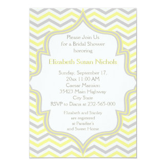 Yellow grey chevron zigzag wedding bridal shower 5x7 paper invitation card
