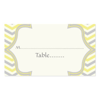 Yellow grey chevron zigzag wedding place card Double-Sided standard business cards (Pack of 100)