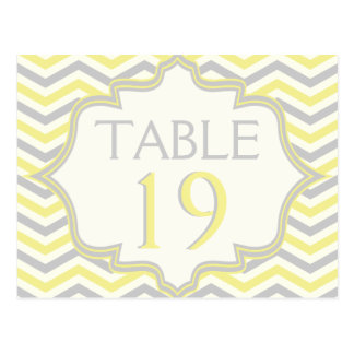 Yellow grey chevron zigzag wedding table number postcard