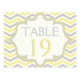 Yellow grey chevron zigzag wedding table number postcard