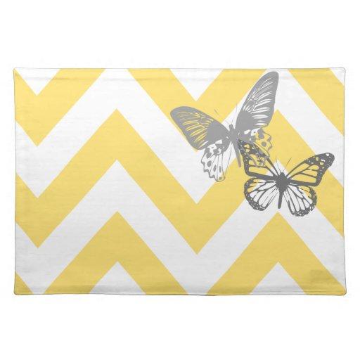 YellowGrey Chrevron Butterflies Placemats Zazzle