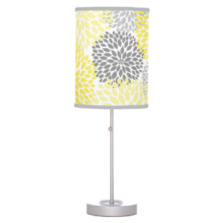 Yellow Grey Dahlia Floral modern table lamp