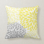 "Yellow Grey Dahlia floral pillow<br><div class=""desc"">Adding colorful pillows to your room is one of the easiest (and least expensive!) ways to update a room.  Coordinating items available in our store.  Contact designer for assistance.</div>"