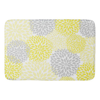 Yellow Grey Dahlias / flowers floral bathroom Bathroom Mat