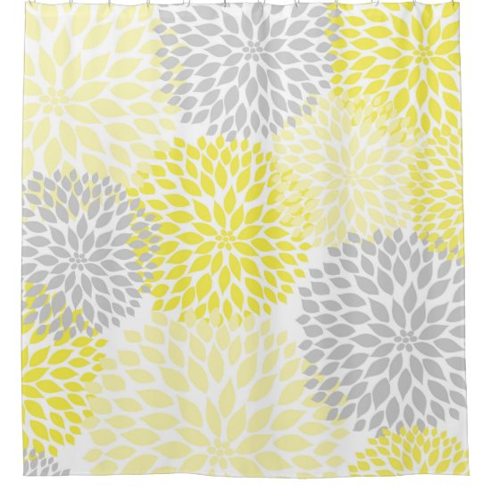 Yellow Grey Dahlias / flowers floral blossoms Shower Curtain