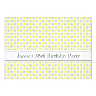 Yellow Grey Dots 35th Birthday Party Invitation