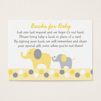 Yellow & Grey Elephant Book Request Cards