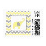 Yellow Grey elephant neutral baby shower postage