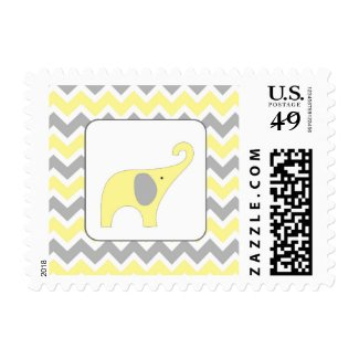 Yellow Grey elephant neutral baby shower postage