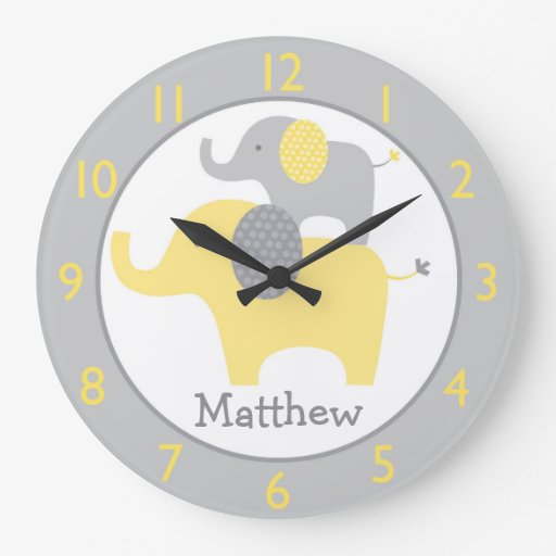 Yellow & Grey Elephant Nursery Clock