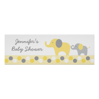 Yellow & Grey Elephant Personalized Banner Sign