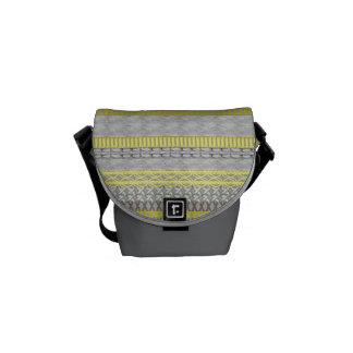 Yellow Grey Fair Isle Patterned Trendy Modern Bags Commuter Bag