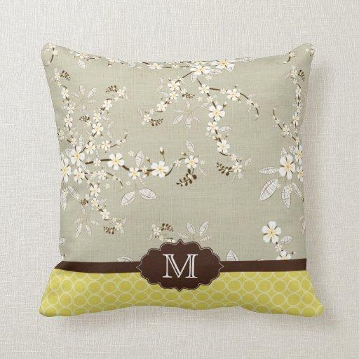 Yellow grey floral modern monogram pillow