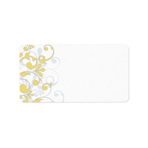 Yellow Grey Floral Wedding Blank Address Label
