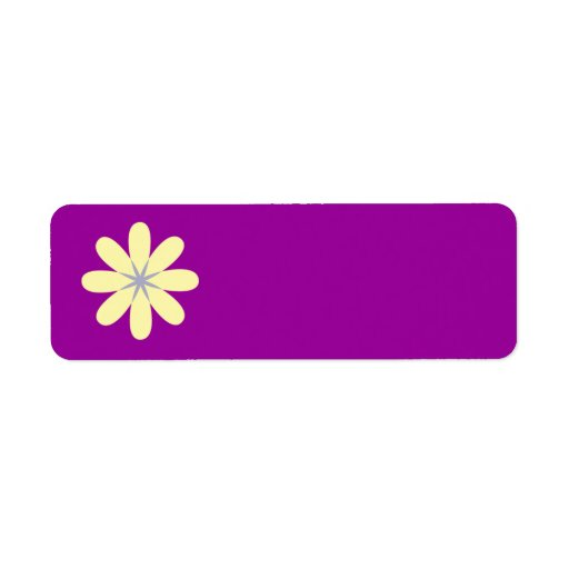 Yellow Grey Flower Label