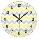 Yellow grey gray chevron kitchen nursery modern large clock