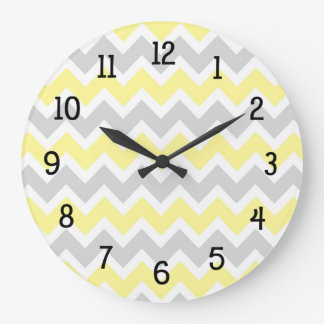 Yellow grey gray chevron kitchen nursery modern large clock