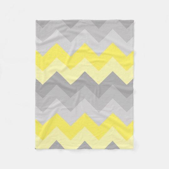 38cbb64765 Yellow Grey Gray Ombre Chevron Fleece Blanket