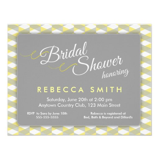 Yellow grey herringbone border bridal shower for Yellow bridal shower invitations