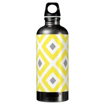 Aztec Themed Yellow Grey Ikat Diamond Pattern Aluminum Water Bottle
