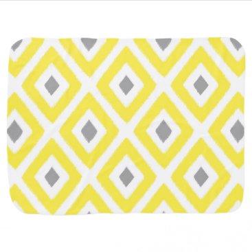Aztec Themed Yellow Grey Ikat Diamond Pattern Baby Blanket