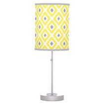 Yellow Grey Ikat Diamond Pattern Desk Lamp