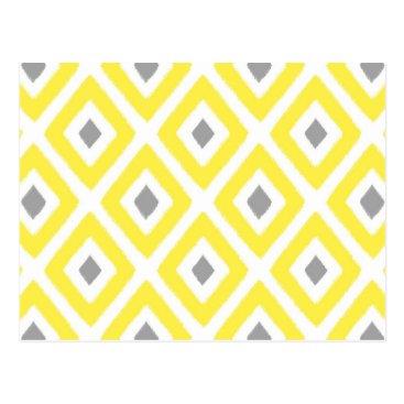 Aztec Themed Yellow Grey Ikat Diamond Pattern Postcard