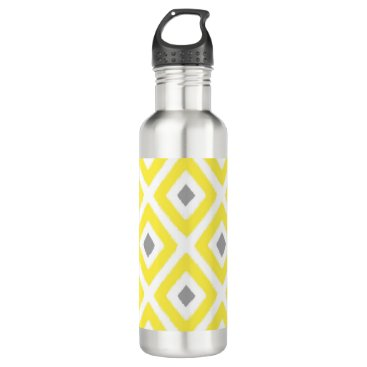 Aztec Themed Yellow Grey Ikat Diamond Pattern Water Bottle