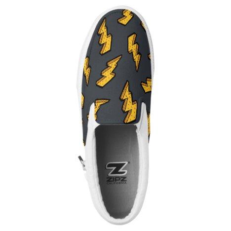 Yellow & Grey Lightning Bolt Drawing Pattern Slip-On Sneakers