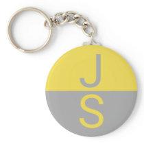 Yellow & Grey Modern Initials Monogram Keychain