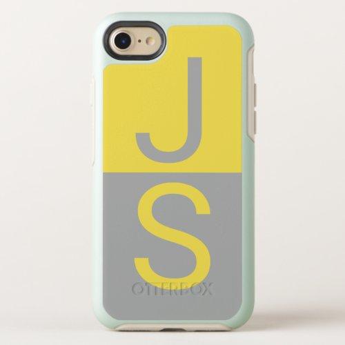 Yellow & Grey Modern Initials Monogram Phone Case
