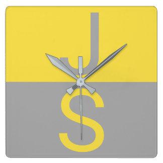 Yellow & Grey Modern Initials Monogram Square Wall Clock