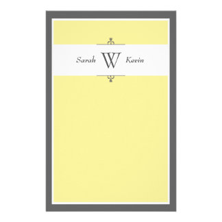 Yellow Grey Monogram stationery