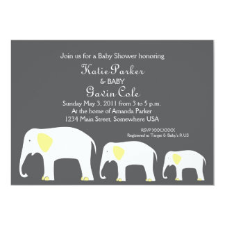 Yellow & Grey Mother and Baby Elephant Invitation