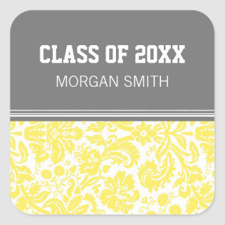 Yellow Grey Pattern Graduation Custom Year Name Square Sticker